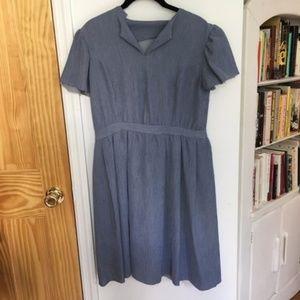 Vintage Blue Peasant / Prairie Inspired Dress